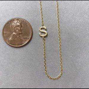 "ZD Jewelry - 1/4"" Sideways Initial w/ CZ Necklaces"